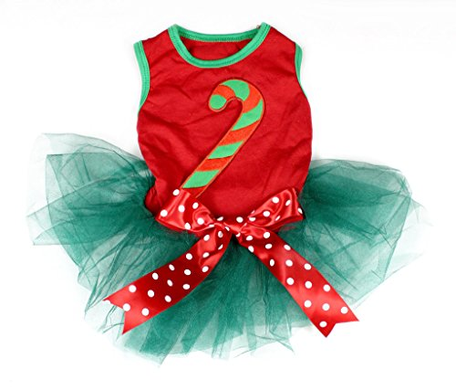 Pet Supply Christmas Dress Xmas Candy Stick Red Teal Green Dog Dress Dots Bow (M)