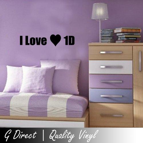 I love 1D One Direction ragazze Bedcamera decalcomania della parete del vinile Quote Vinyl Decal Graphic Art 60x10
