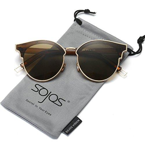 SOJOS Gafas De Sol Unisex Modernas Retra Forma Pantos Lentes Redondas Espejo SJ1055 Con Marco Grueso Dorado/Lente Café