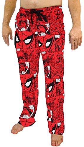 Marvel Spiderman All Over Print Herren Schlafanzug, Rot - Rot - Medium (Web Und Shooter Spiderman-maske)