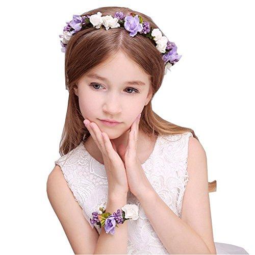 JYJHL Kranz Handgelenk Blume Zweiteiliger Anzug Kind Erwachsener Hochzeitskleid Mädchen Haarband Blumenmädchen Brautjungfer Haarschmuck,A-OneSize