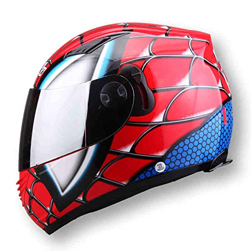 NBZH Full Face Moto Casque Homme Double Objectif Casco NENKI830 Spiderman Moto Casque,Red,L