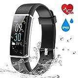 Bonice Fitness Tracker mit Herzfrequenz Monitor Wasserdicht IP68Activity Tracker Fitness Armbanduhr und Schlafen Monitor Schritt Zähler Schrittzähler, Schwarz