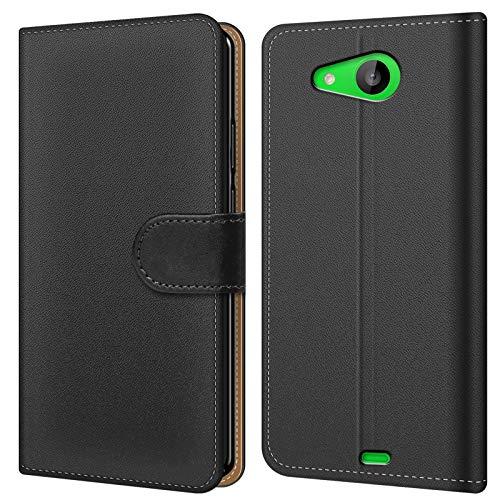 Conie Hülle für Microsoft Lumia 535 Tasche Bookstyle Schwarz, PU Leder Hülle Schwarz, Handyhülle Lumia 535 Flip Case Wallet, Booklet Cover Etui, für Microsoft Lumia 535 (5.0