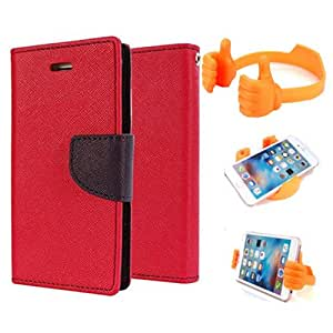 Aart Fancy Diary Card Wallet Flip Case Back Cover For Mircomax A117 - (Red) + Flexible Portable Mount Cradle Thumb Ok Stand Holder By Aart store