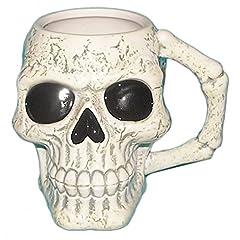 Idea Regalo - Puckator mug217Tazza, motivo teschio ceramica avorio/nero 12,5x 12,5x 10,5cm