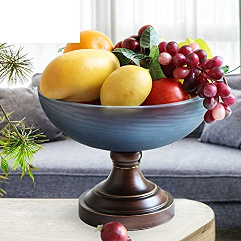 European-style Luxury Glass Fruit Bowl,Living Room Decorative Candy Dish,Iron Pedestal Compote-A