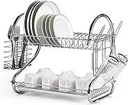 رف تجفيف الأطباق بطبقتين ، منظم المطبخ ، حامل أدوات المطبخ ، مع وسادة قدم ثابتة ولوحة مصرف ، كوب ، زجاجة ، صحن