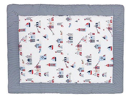 KraftKids Krabbeldecke Strandhäuschen Streifen dunkelblau, gepolsterte Babydecke aus hochwertiger Baumwolle in den Maßen 100 x 135 cm -