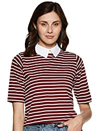 Miss Chase Women's Maroon and White Striped Crop Top