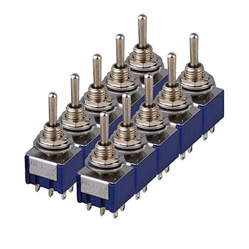 yibuy AC125V 6A ON/OFF/ON DPDT 3Position 3-Wege Toggle Switch, TGB3), blau 10PCS