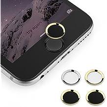 BUTEFO Botón Inicio Pegatina del metal-aluminio Inicio Botón Teclado Teclado Pegatina caso de la piel para el iPhone 5s iphone 6 iphone 6 más (anillo de oro Negro Button)