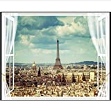 Grandes Fondos De Pantalla La Arquitectura De La Ciudad De La Torre Eiffel De París Vista Sala De Estar Tv Fondo De Pantalla Para Paredes 3D (W)300x(H)210cm