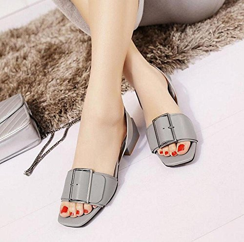 SHINIK Frauen Peep Toe Pumps Slingback Sandalen Fashion Square Wölbung Flat Heel Persönlichkeit Sandalen 40-45 Grey