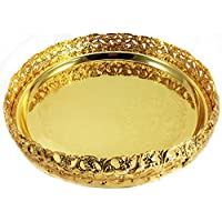 Luxury Gold Plated Decorative Tray Wedding Table Centre Piece Tea Light Candle Holder Plate Christmas Festive Home Party Decoration 23cm