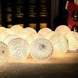 Morbuy Cotton Lichterketten, Wattebausch Lichterketten 6CM Ball Lights LED Lichterkette Festlich Hochzeiten Geburtstag Party 20 Baumwollkugeln LED Batterie Farbe Themen Lichterkette 3.3m (3.3M / 20 Lichter, Einfach Weiß)