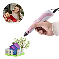 HAWEE Intelligent 3D Pen for Doodling, Art and Craft Making Compatible with PLA/ABS Filaments Best Gift DIY 3D Modeling Christmas Halloween Gift for Kids or Adult (Pink-OLCD)