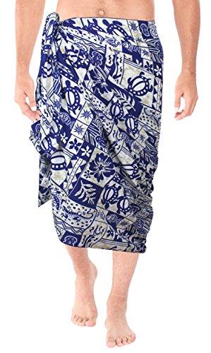 LA LEELA likre tropische Schildkröte & Blatt gedruckt Strand und Sarong königsblau Größe Männer