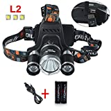 LingsFire® 5000 Lumen 3 x L2 LED Rechargeable HeadLight Multi-functional Charging Headlamp Head Lamp Flashlight with USB Cable and 2PCS 18650 3000mAh 3.7V Lithium Battery For Hiking Camping Hunting Night Riding Caving Expedition