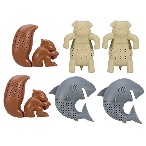 Tier Tee (OUNONA 6 stücke Silikon Teesieb / Tee-ei / Tee Filter / Tee Handschuhe Tier Shap Infuser Herbal Spice Filter Diffusor, Eichhörnchen Shark Pug)