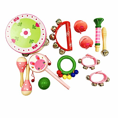Musical Instruments Kids Mini Wooden Percussion Toy Colorful Boys Girls Rhythm Band Set Tambourine Finger Castanets Preschool Music Education 13 Pcs Pink