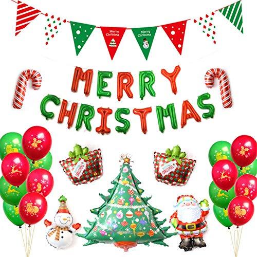 1 satz Navidad neue Weihnachtsballon Set Weihnachtsdekoration Weihnachtsmann Luftballons Weihnachtsflagge Banner Decor -