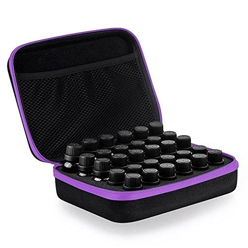 Ätherisches Öl Aufbewahrungsbox Aufbewahrung mit 30 Löcher Aromatherapie Hartschale Tragekoffer Tragetasche für 5ml 10ml 15ml Flaschen Aromatherapie Nagellack Lippenstift Reisen Tasche Kulturbeutel