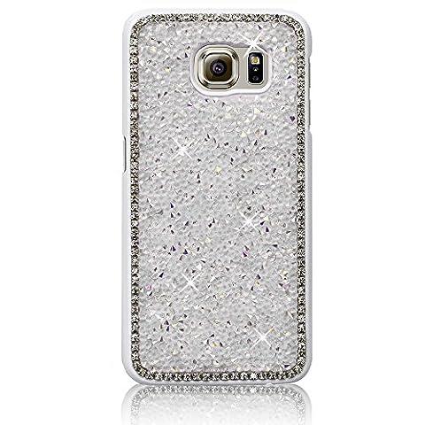 Xtra-Funky Reihe Samsung Galaxy S7 Edge Kristallrhinestone-Felsen harter Fall mit Sekt Diamante Kanten und Chrom-Rim - Weiß