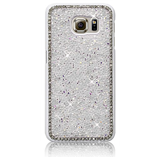 Xtra-Funky Reihe Samsung Galaxy S7 Edge Kristallrhinestone-Felsen harter Fall mit Sekt Diamante Kanten und Chrom-Rim - Weiß (Diamant-gesteppte Handtasche)