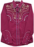 Modestone Women's Embroidered Long Sleeved Fitted Western Hemd Floral Purple XL