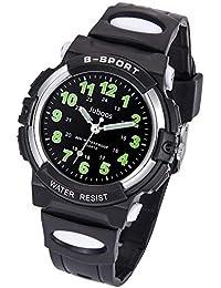 Relojes Niños, Reloj de Pulsera para Niños y Niñas Impermeable Reloj Deportivo de Cuarzo (Negro All)