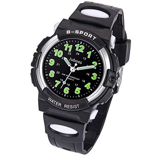 Juboos Kinderuhr Jungen Mädchen Analog Quartz Uhr mit Armbanduhr Kautschuk Wasserdicht Outdoor Sports Uhren-JU-001 (Die meisten schwarz)