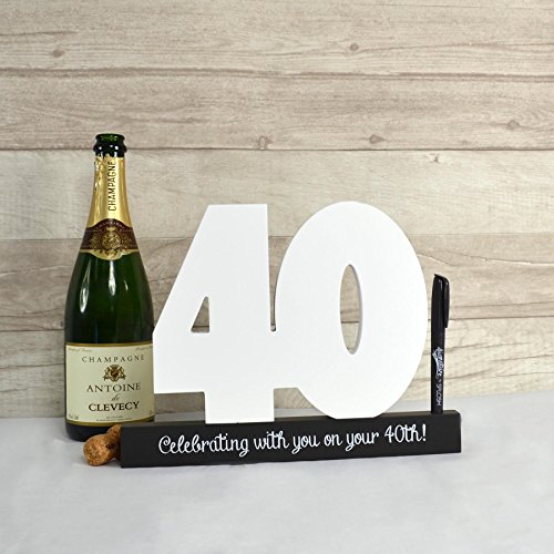 Happy 40th Birthday Wooden Signature Number by ING