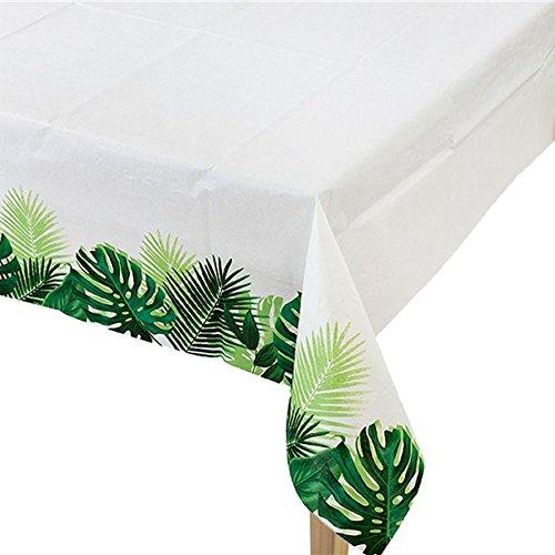 erdbeerparty Tisch Dekoration Papier Tischdecke Floral Sommerparty Tropical Dschungel, 1 Stück, 1.2 x 1.8m, Weiß