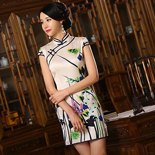 YueLian Stampato Cheongsam Qipao sopra Ginocchio a Maniche Corto Disegno 2