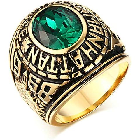 Bishilin Acciaio Inossidabile Oro Placcato Vintage Uomo Anello con Verde Smeraldo(Lab Creato) - Lab Creato Rubino Cuore