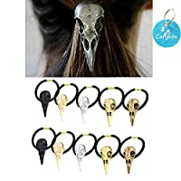 Carykon 10PCS Women Girls Hair Tie Alloy Crow Skull Elastic Ponytail Holders, Mixed Colors