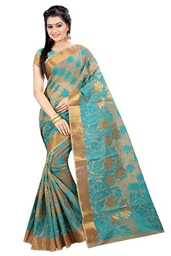 Silk Zone Women's Green Linen Tussar Silk Saree With Blouse Piece (LT00001_Green_Free...