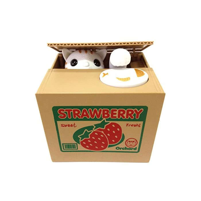 UNTIL YOU】Münzen-Klauende Katzen & Panda Spardose zum Geld Sparen Kinder (Süße Erdbeeren Katze)