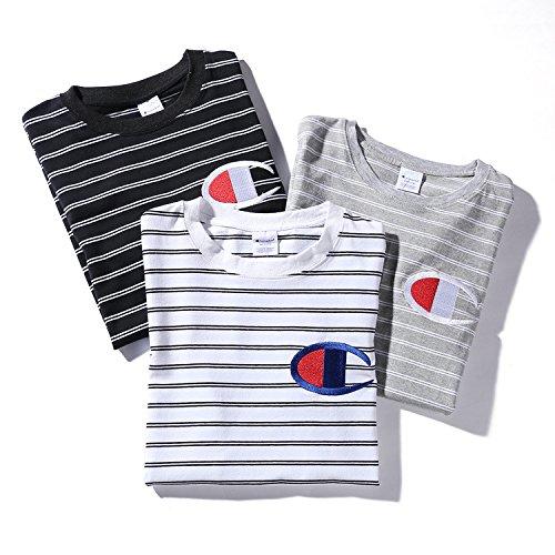 BOMOVO Herren CHAMPION T-Shirt Rundhals Streifenshirt Weiß