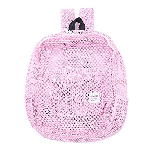 Transparente Mesh Rucksack GMY Sport Travel School Bookbag durchsichtig Beach Netting Rucksack mit gepolsterten Trägern für Kinder Männer Frauen (Pink) (Netting Rucksack)