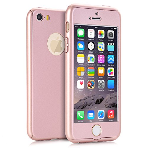 iPhone 5 Hüllen, iPhone 5s Fall, iPhone SE Fall, Viral Protein R 2 in 1 Ultra Dünn 360 Full Body Schutz Hard Premium Luxus Cover Stoßdämpfung griffsicheres PC Case für Apple iPhone 5 5S SE, Rosegold (Pink 5s Screen Protector)
