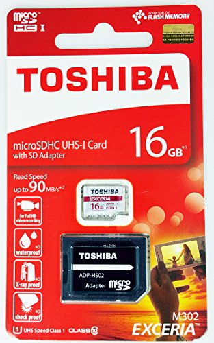Toshiba Exceria M302 16GB Micro SDXC Memory Card 90 MB/s 4K with Adapter for Action Cameras