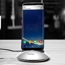 cavi, Stazione di ricarica standard Qi standard per desktop di tipo emisfero settentrionale, per Samsung Galaxy S8 e S8 + / LG G6 / Huawei P10 e P10 Plus / Oneplus 5 / Xiaomi Mi6 e Max 2 e altri smartphone ( Colore : Argento )