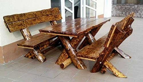 Rustikale Gartenmöbel (Casa Padrino Gartenmöbel Set Rustikal Tisch + 2 Garten Bänke - Eiche Massivholz - Echtholz Möbel Massiv)