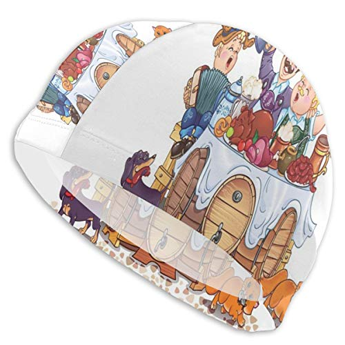 GUUi Swimming Cap Elastic Swimming Hat Diving Caps,Colorful Bavarian Autumn Season Celebration Illustration with Beer and Pork,for Men Women Youths Bavarian Beer House