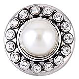 Morella® Damen SMALL Click-Button Druckknopf 12 mm Ø Perle weiß