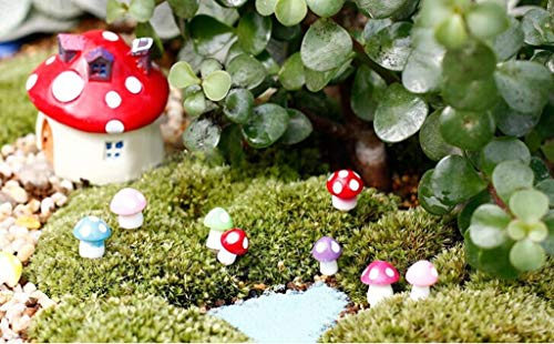 Garden Statues Sculptures - 20x Miniature Dollhouse Bonsai Garden Pot Landscape Mushroom Decor Red - Bunny Outdoor Artificial Mushroom Garden 16 Sculptures Fairy Statues Shrub Garden Flower P -