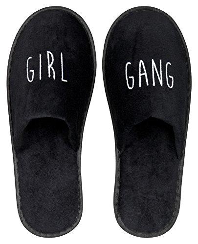 Wellness-Slipper geschlossen mit weißer GIRL GANG Bestickung in schwarz 1 Paar