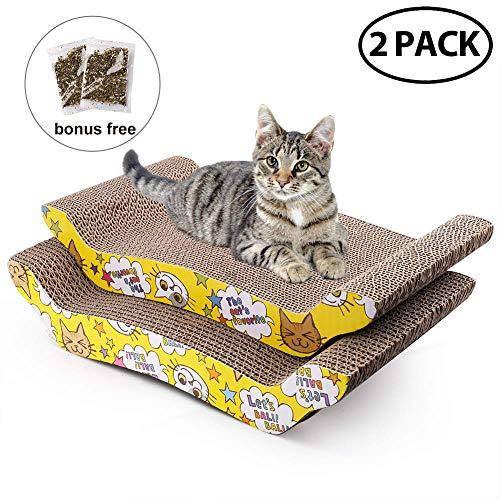 LotFancy Cartone Cat Scratcher 2 pacchi con Catnip, Riciclare Scratcher Pad Gatto corrugato Pad Cat Scratcher Reversibile Divano Letto sostitutivo